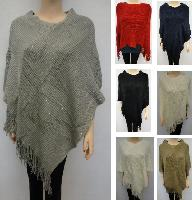 Knitted Shawl with Fringe [Sequin Accent]